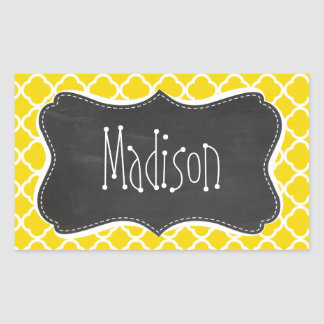Golden Yellow Moroccan Quatrefoil; Chalkboard look Sticker