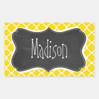 Golden Yellow Moroccan Quatrefoil; Chalkboard look Sticker