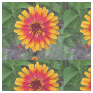 Golden Yellow Orange Zinnia Flower Fabric