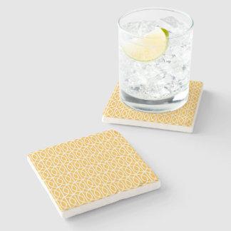 Golden Yellow Patterned Coaster Stone Beverage Coaster