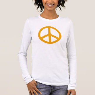 Golden Yellow Peace Symbol Personalized Long Sleeve T-Shirt
