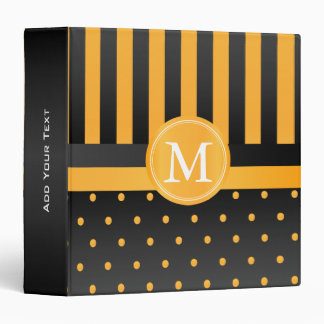 Golden Yellow Polka Dots and Black Stripes Binder