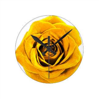 Golden Yellow Rose 20171027b Round Clock