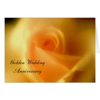Golden Yellow Rose Golden Wedding Card