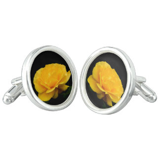 Golden Yellow Rose Isolated on Black Background Cufflinks
