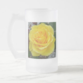 Golden Yellow Rose with Garden Background Frosted Glass Beer Mug