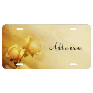 Golden yellow roses license plate