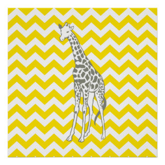 Golden Yellow Safari Chevron with Pop Art Giraffe Poster