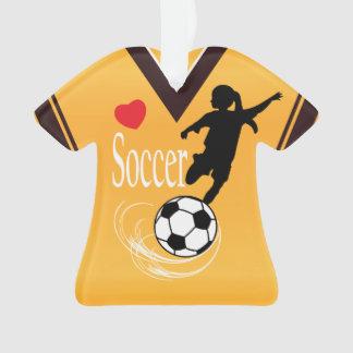 Golden Yellow Soccer Ball Shirt Ornament