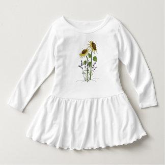 Golden Yellow Sunflowers & Lavender Dress