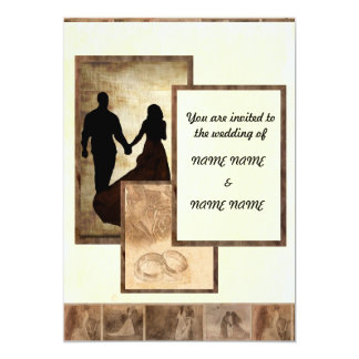 "Golden-yellow Vintage Wedding in silhouette 5"" X 7"" Invitation Card"
