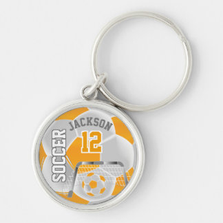 Golden Yellow & White Team Soccer Ball Keychain