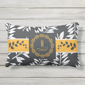 Golden Yellow with Charcoal Grey Monogram Outdoor Pillow