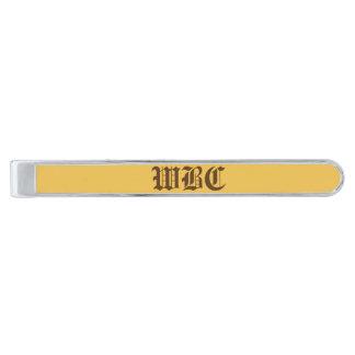 Golden Yellow with Dark Autumn Brown Tie Clip Silver Finish Tie Bar