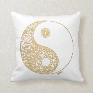 Golden Yin Yang Throw Pillow