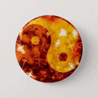 Golden ying yang sparkly button