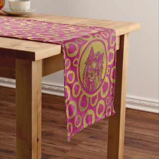 Golden Yorkshire Terrier on pastel pink Short Table Runner