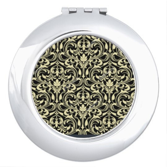 GOLDENBLACK COMPACT MIRROR BAROQUE FLOWING DESIGN