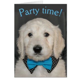 Goldendoodle in bow tie card