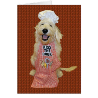 Goldendoodle Kiss the Cook card