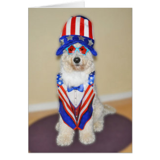 Goldendoodle patriotic card