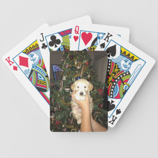 GoldenDoodle Puppy With Christmas Tree Bicycle Playing Cards
