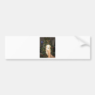 GoldenDoodle Puppy With Christmas Tree Bumper Sticker