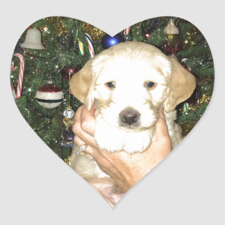GoldenDoodle Puppy With Christmas Tree Heart Sticker