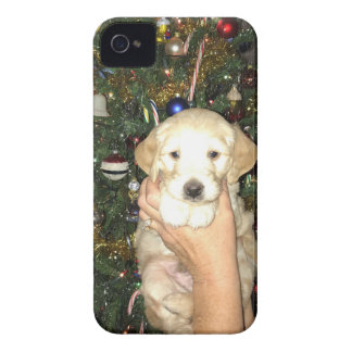 GoldenDoodle Puppy With Christmas Tree iPhone 4 Case-Mate Cases