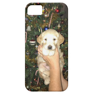 GoldenDoodle Puppy With Christmas Tree iPhone 5 Cover