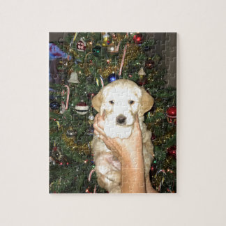 GoldenDoodle Puppy With Christmas Tree Jigsaw Puzzle