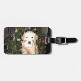 GoldenDoodle Puppy With Christmas Tree Luggage Tag