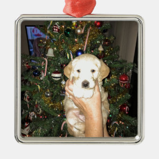 GoldenDoodle Puppy With Christmas Tree Metal Ornament