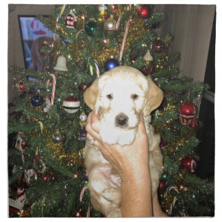 GoldenDoodle Puppy With Christmas Tree Napkin