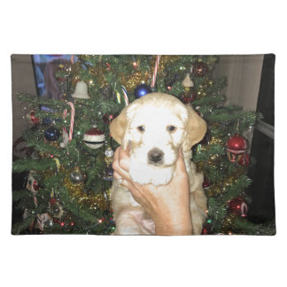 GoldenDoodle Puppy With Christmas Tree Placemat