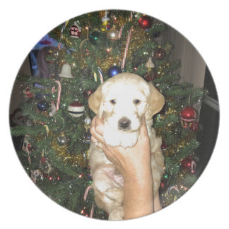GoldenDoodle Puppy With Christmas Tree Plate