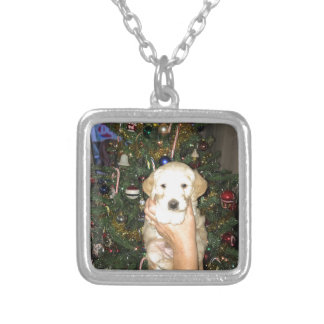 GoldenDoodle Puppy With Christmas Tree Silver Plated Necklace