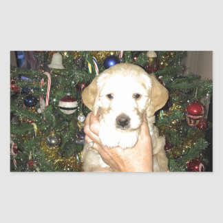 GoldenDoodle Puppy With Christmas Tree Sticker