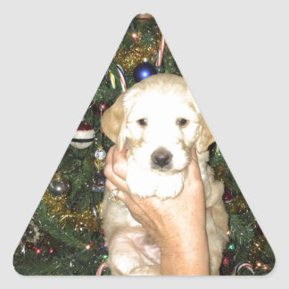 GoldenDoodle Puppy With Christmas Tree Triangle Sticker