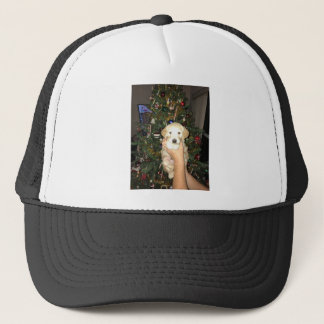 GoldenDoodle Puppy With Christmas Tree Trucker Hat