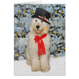 Goldendoodle Snowman card