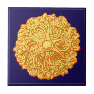 goldene Rosette golden rose Ceramic Tile