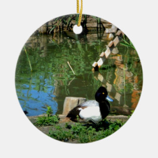 goldeneye duck at the pond ceramic ornament