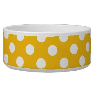 Goldenrod Band White Polka Dots Pet food Bowl