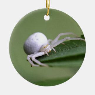 Goldenrod crab spider or flower crab spider round ceramic ornament