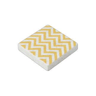 Goldenrod White Large Chevron ZigZag Pattern Stone Magnet