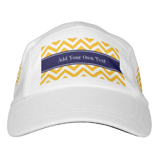 Goldenrod White LG Chevron Navy Blue Name Monogram Headsweats Hat