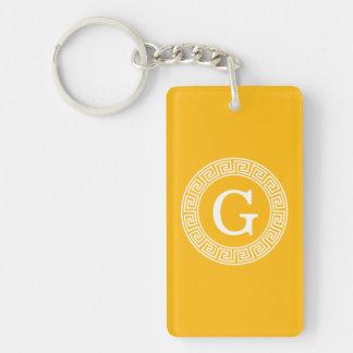 Goldenrod Wht Greek Key Rnd Frame Initial Monogram Double-Sided Rectangular Acrylic Keychain