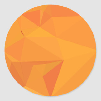 Goldenrod Yellow Abstract Low Polygon Background Classic Round Sticker