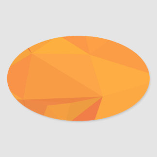 Goldenrod Yellow Abstract Low Polygon Background Oval Sticker